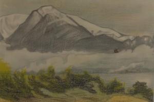 Katharine Maltwood - Olympic Mountains from Oak Bay Golf Club