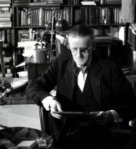 "James Joyce in ""Shakespeare and Co."" bookshop, Gisèle Freund, by permission of the Estate of Gisèle Freund /IMEC Images L'Institut Memoires de l'edition contemporaine, Paris. Special Collections, University of Victoria"