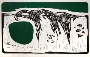 Flemming Jorgensen Changing Fields 1965 Lino Cut on paper 57 x 72 University of Victoria Acquisition Fund