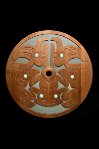 Salish Vision, Susan Point,  2002, Carved and painted red cedar and copper whorl, 83.82 cm diameter, 5.72 cm deep