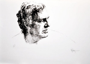 Portrait of Karl Spreitz, 1972, lithograph by Myfanwy Pavelic.