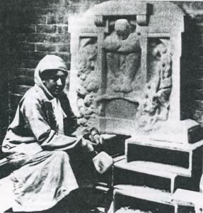 Katherine Maltwood, at work on Magna Matter. London, c.1910